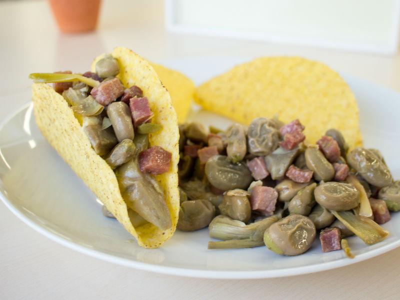 Receta de tacos mexicanos Somnatur con habas y alcachofas