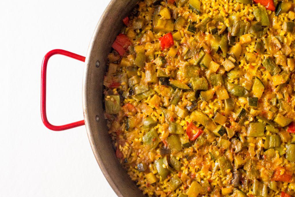 Receta paella valenciana de verduras ecologica