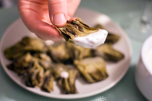receta alcachofas con mayonesa de rabanitos