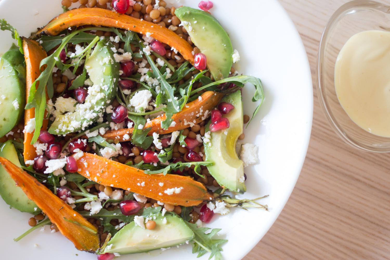 Ensalada de lentejas con zanahoria asada