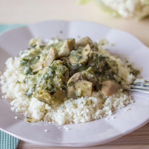 receta de coliflor con alcachofas en salsa