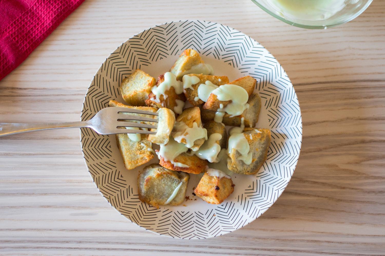 receta de bravas de boniato blanco eco con wasabi